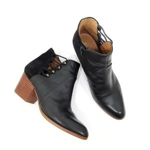 Aldo black tan side lace heel booties 8.5